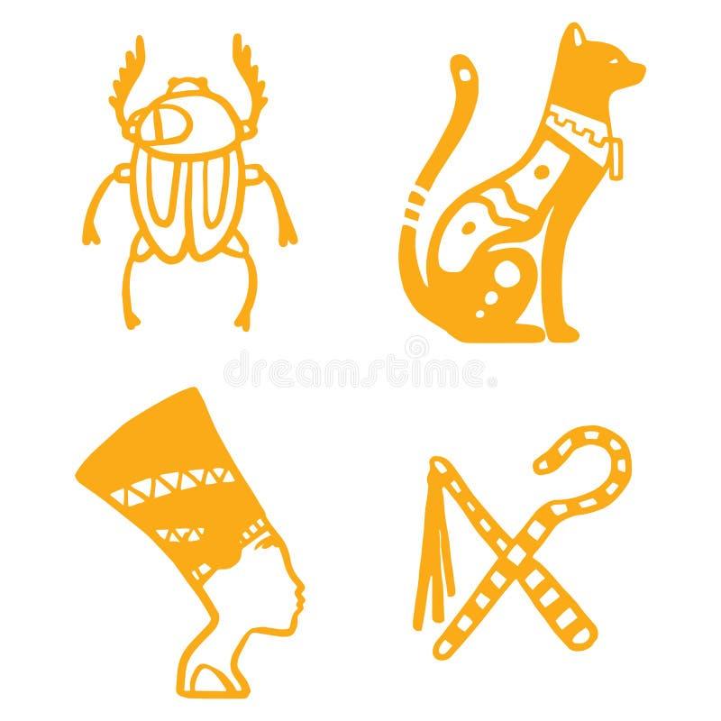 Estilo tradicional dibujado mano del ejemplo del vector del jeroglífico del diseño de los sybols de la historia del viaje de Egip ilustración del vector