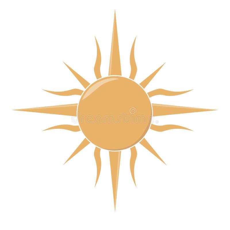 Estilo tribal del modelo de la luz del sol del sistema del ilustration del vector del clip art de Sun en el fondo blanco ilustración del vector