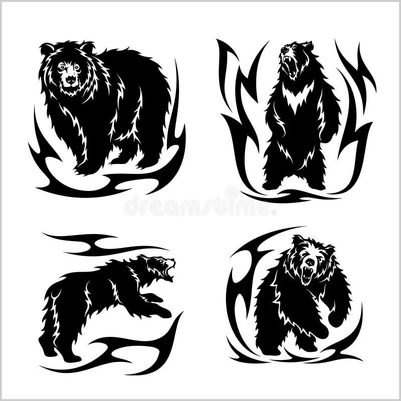 Estilo tribal do ina selvagem dos ursos isolado no branco ilustração royalty free
