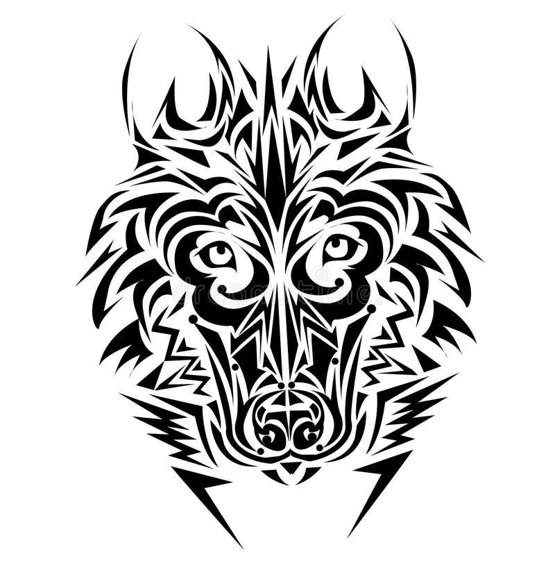 Estilo tribal do tatuagem do lobo ilustração royalty free