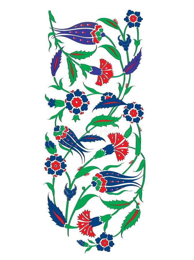 Estilo turco do otomano com as telhas azuis e brancas ilustração royalty free