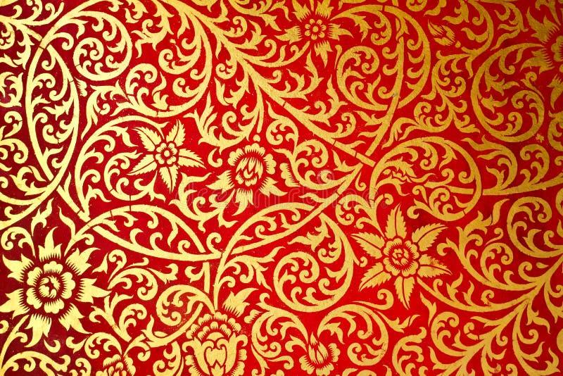 Estilo velho do teste padrão tailandês da arte a parede no templo imagens de stock