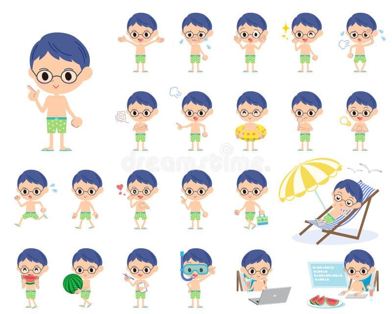 Estilo verde do roupa de banho do menino ilustração royalty free