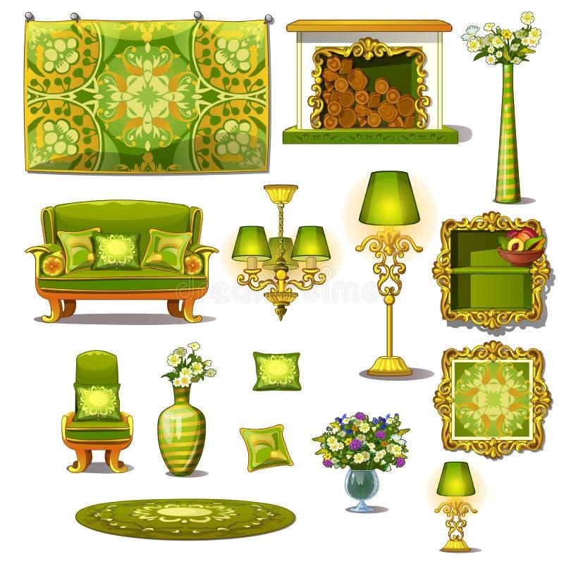Estilo verde do vintage da mobília, grupo grande do vetor ilustração stock