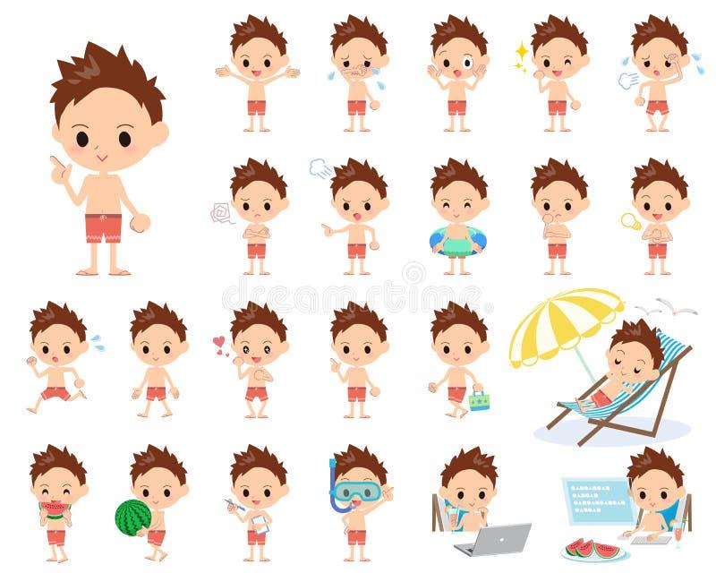 Estilo vermelho do roupa de banho do menino ilustração do vetor