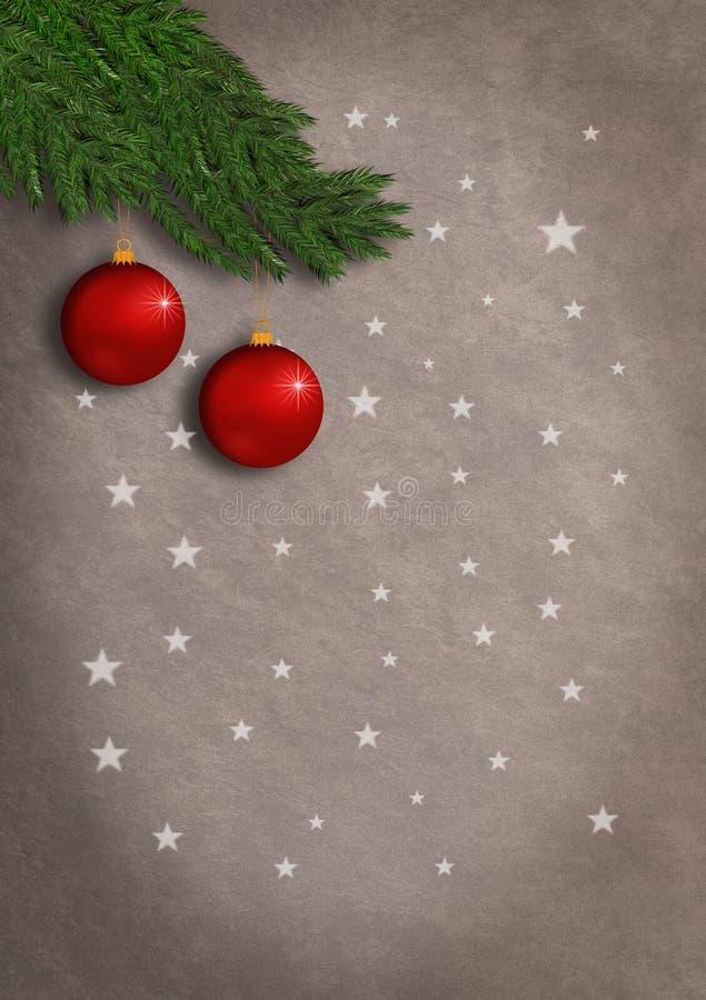 Estilo vertical del vintage del grunge de la tarjeta de Navidad con los ornamentos rojos que cuelgan de una rama spruce y de las  ilustración del vector