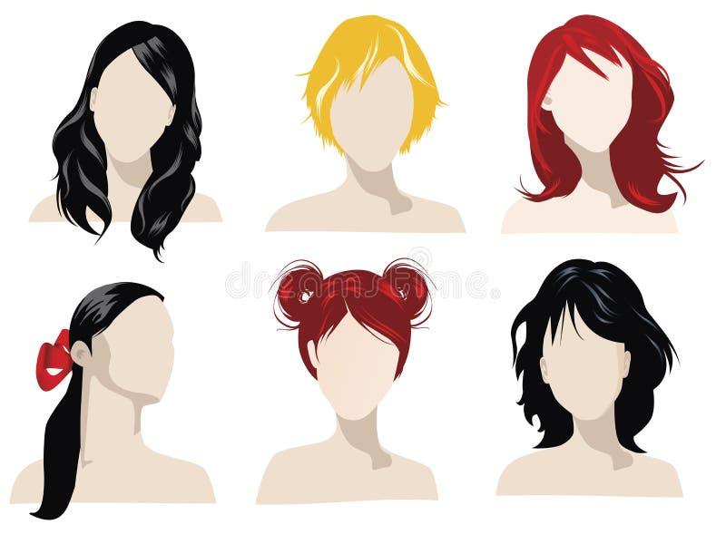 Estilos de cabelo ilustração royalty free