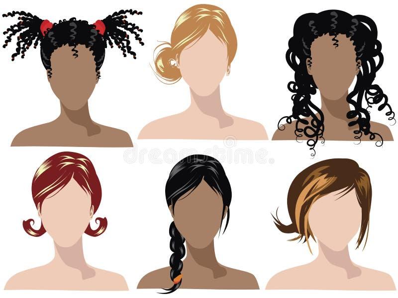 Estilos de cabelo 2 ilustração royalty free