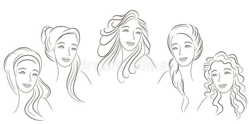 Estilos de cabelo ilustração stock