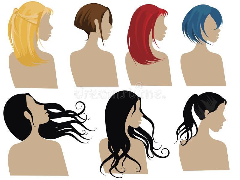 Estilos de cabelo 3 ilustração stock