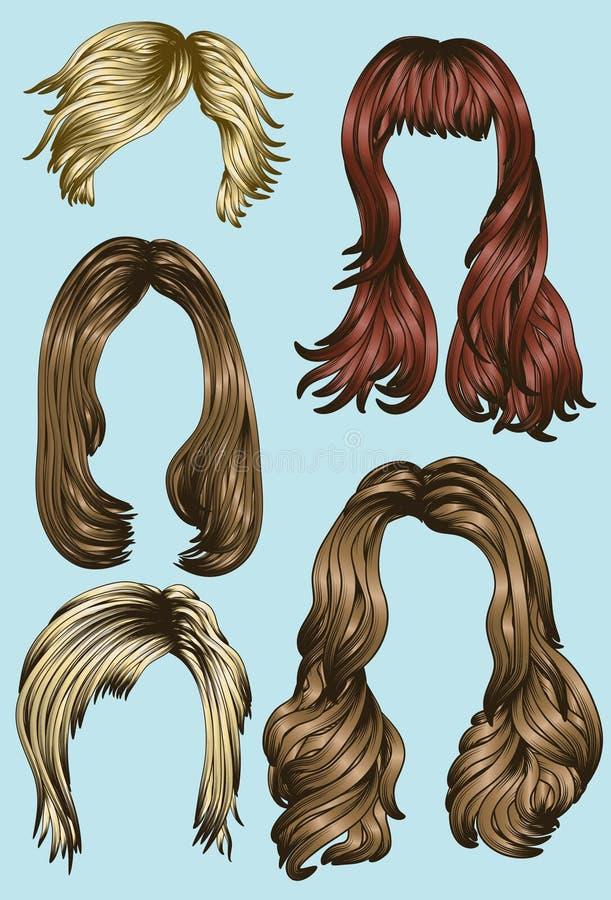 Estilos de cabelo das várias mulheres ilustração stock