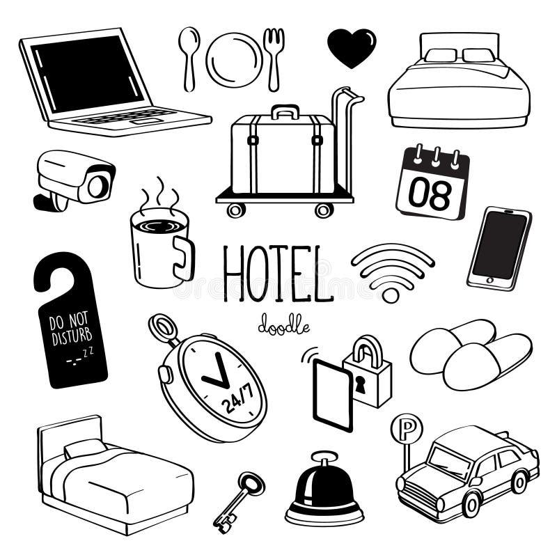 Estilos de dibujo de la mano para los artículos del hotel Servicio de hotel del garabato libre illustration