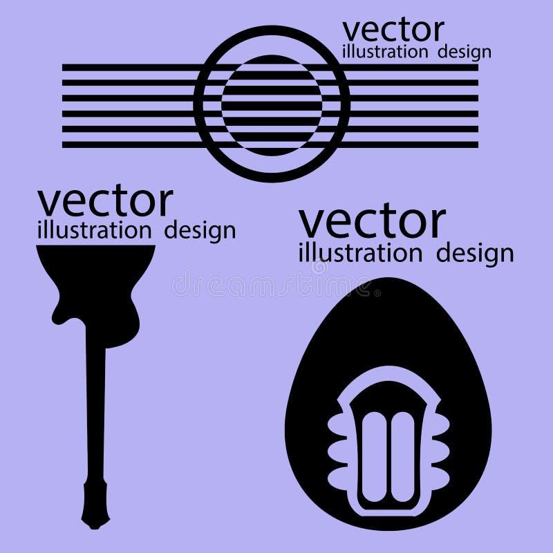 Estilos de la guitarra de los logotipos del vector en púrpura stock de ilustración