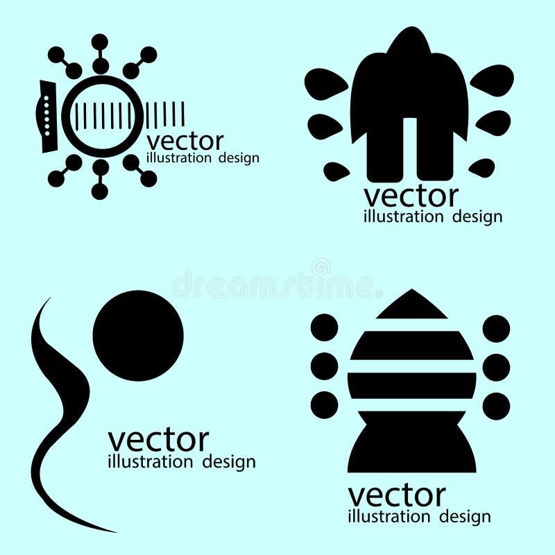 estilos de la guitarra de los logotipos en azul ilustración del vector