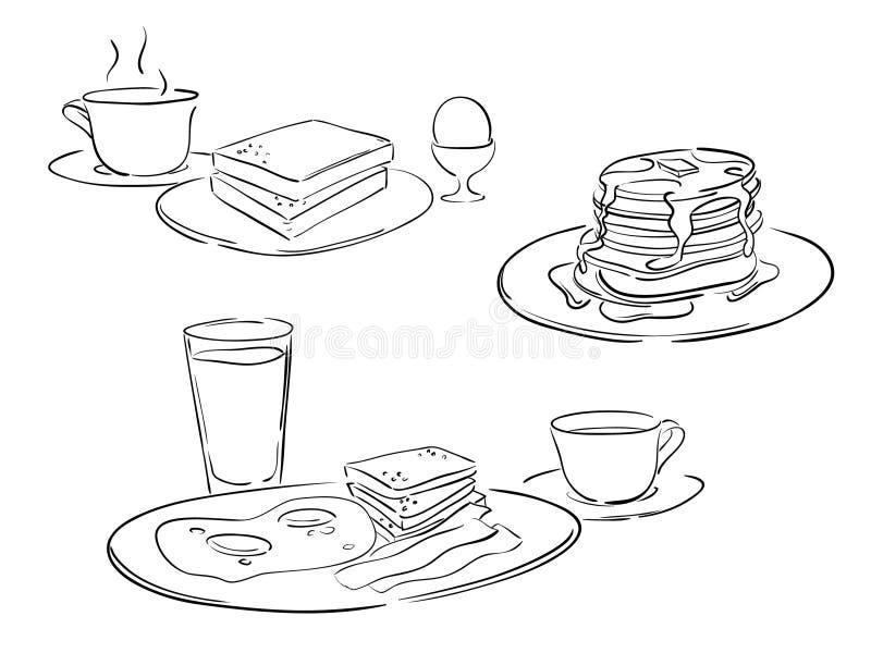 Estilos del desayuno ilustración del vector