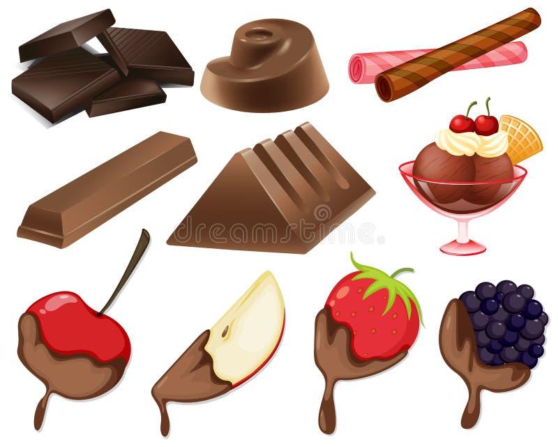 Estilos diferentes da sobremesa do chocolate ilustração do vetor