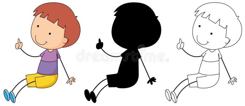 Estilos diferentes de caráteres simples da criança ilustração royalty free