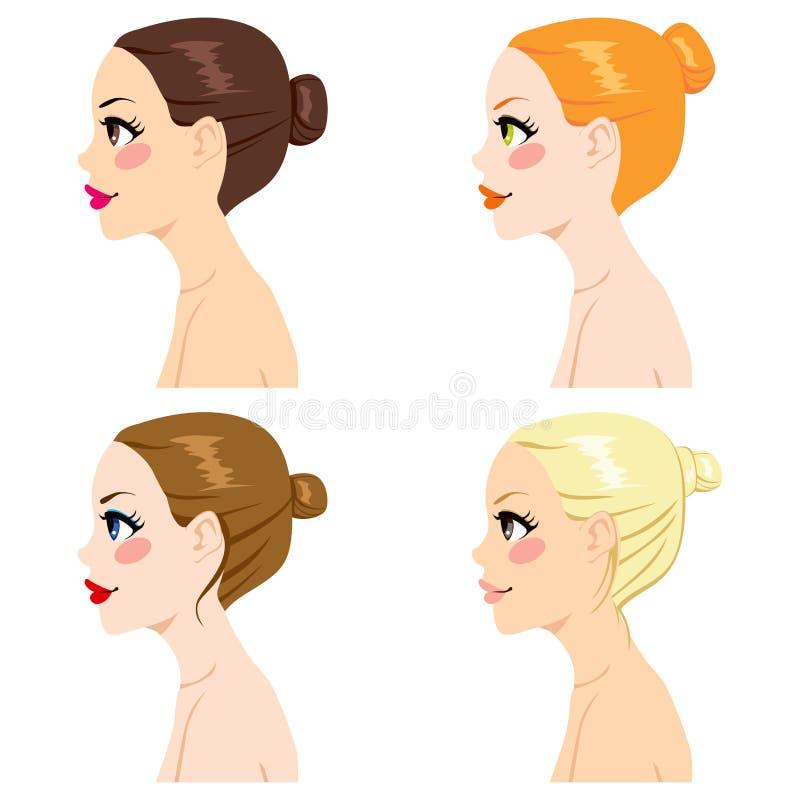 Estilos do bolo do cabelo ilustração royalty free