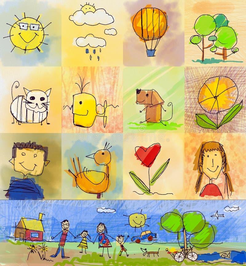 Estilos do desenho das crianças Grupo de símbolos com família humana, anim ilustração stock
