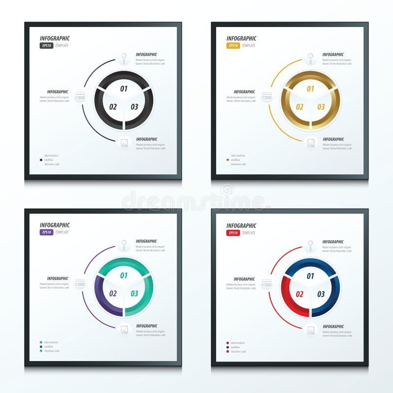 Estilos infographic del sistema de color del círculo 2 4 stock de ilustración