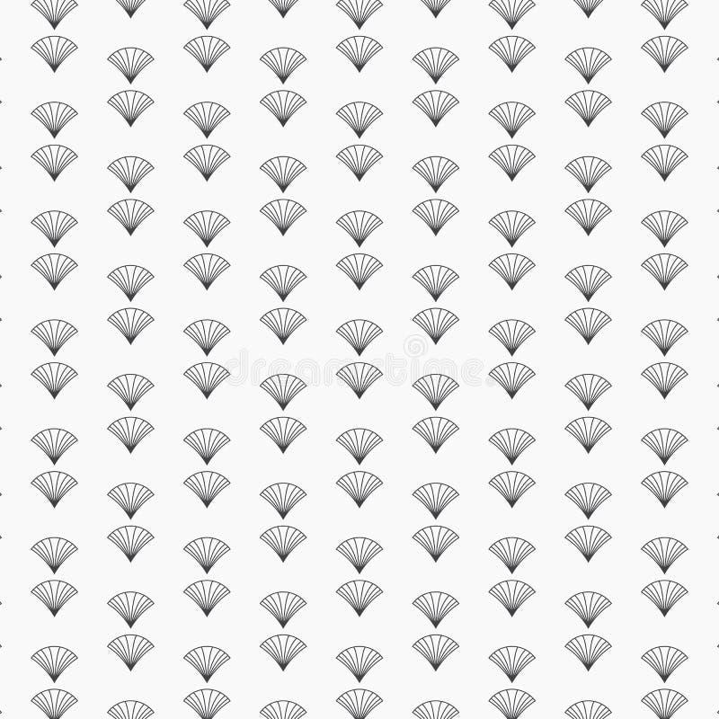 Estilos pequenos e minúsculos de Japão do art deco do fã com motivos da escala Teste padrão do vetor ilustração royalty free