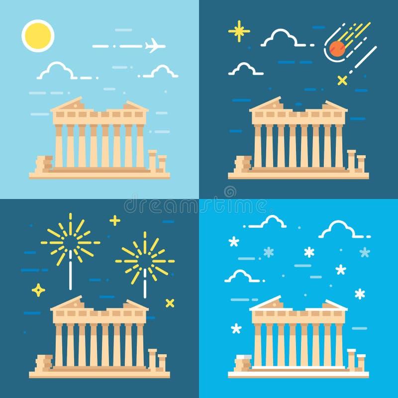 Estilos planos del diseño 4 del Parthenon Atenas Grecia ilustración del vector