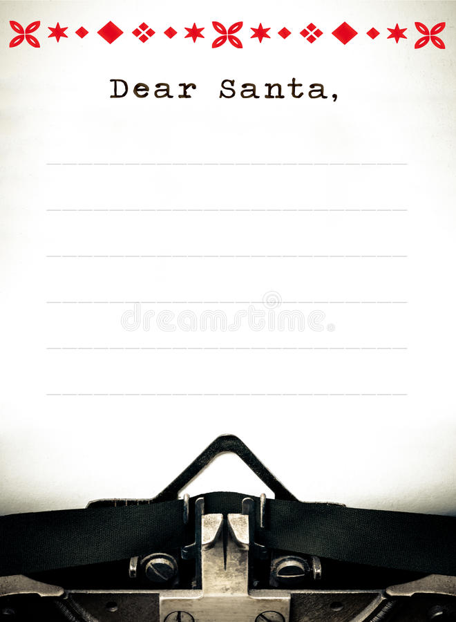 Estimado Papá Noel, letra del list d'envie de la máquina de escribir imágenes de archivo libres de regalías