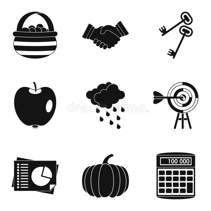 Estimated company icons set, simple style. Estimated company icons set. Simple set of 9 estimated company vector icons for web isolated on white background vector illustration