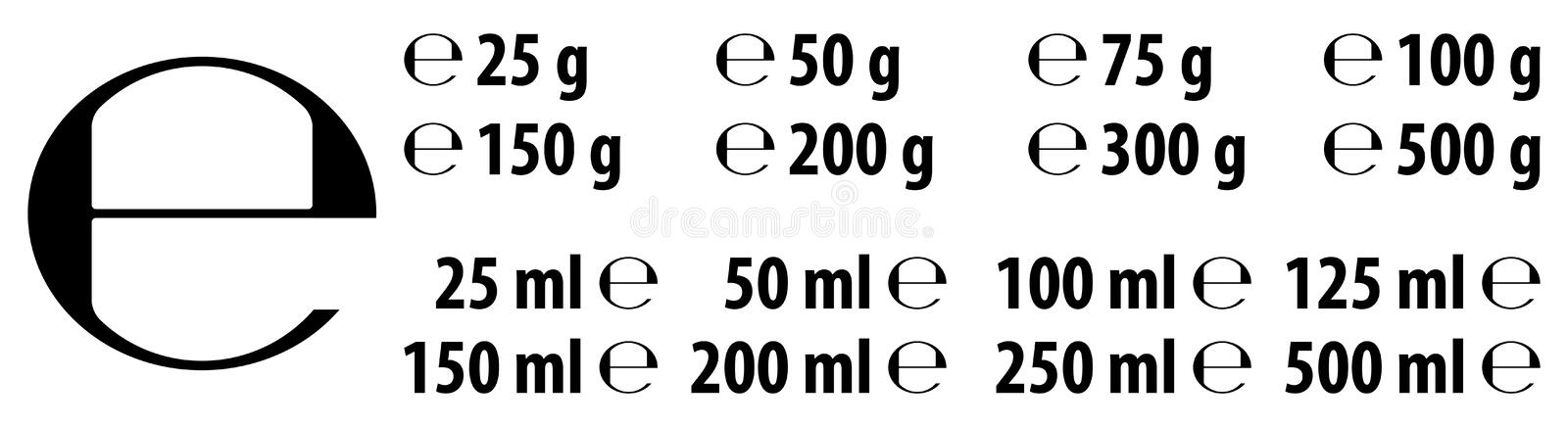 Estimated e sign e-mark with correct dimensions as per EU Dire. Ctive 71/316. Versions with commonly used weights and volumes for food and cosmetics label stock illustration