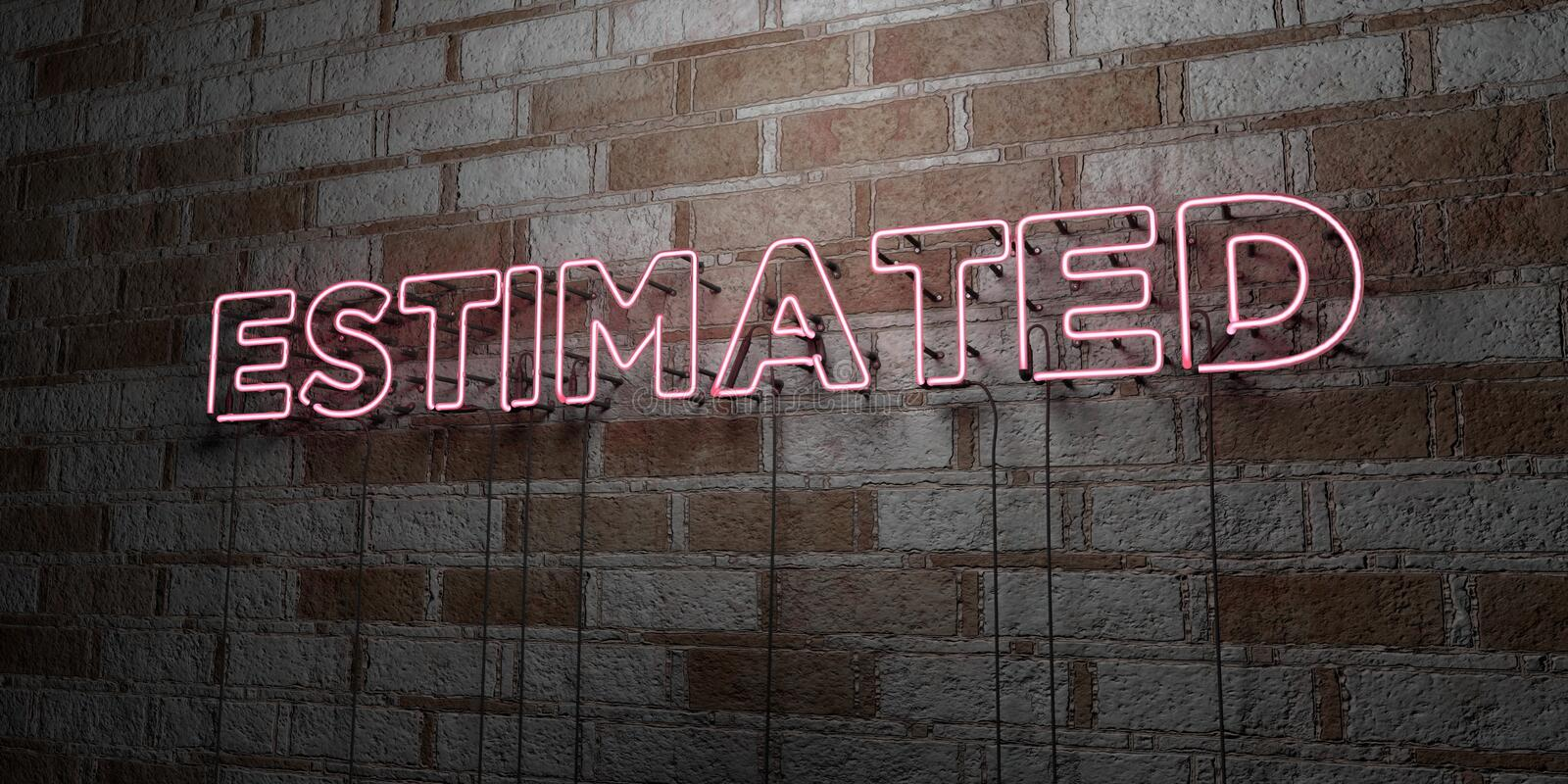 ESTIMATED - Glowing Neon Sign on stonework wall - 3D rendered royalty free stock illustration. Can be used for online banner ads and direct mailers stock illustration
