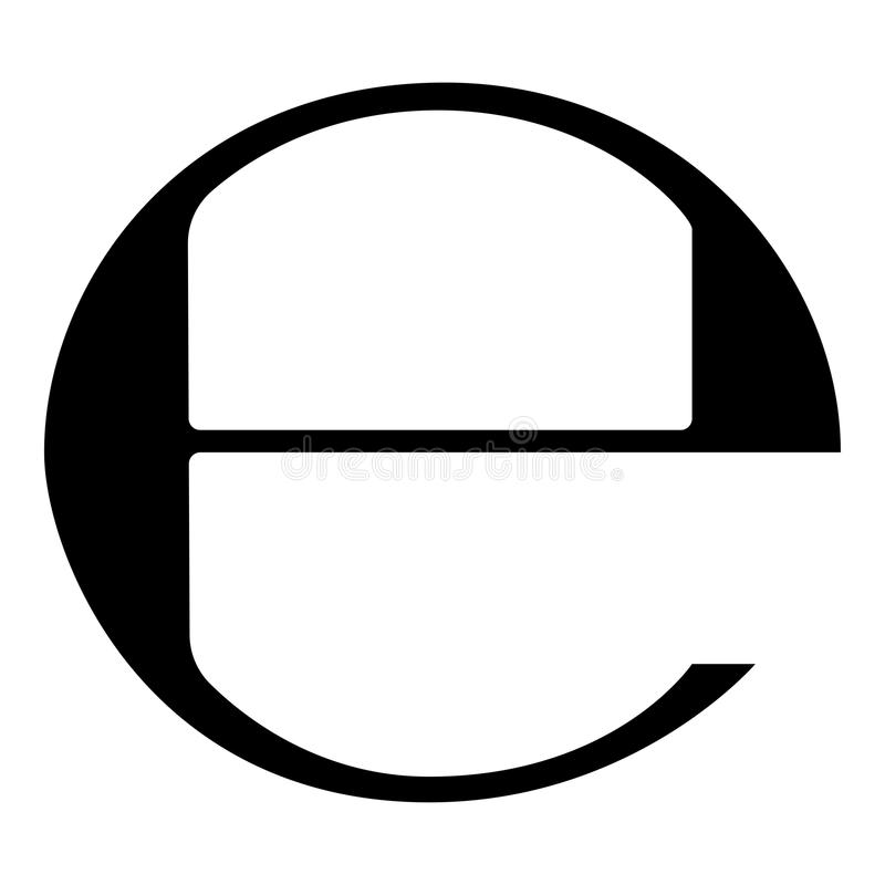 Estimated sign E mark symbol e icon black color illustration flat style simple image. Estimated sign E mark symbol e icon black color vector illustration flat stock illustration