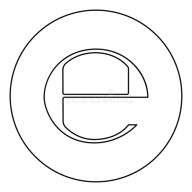 Estimated sign E mark symbol e icon black color in round circle. Outline vector illustration vector illustration