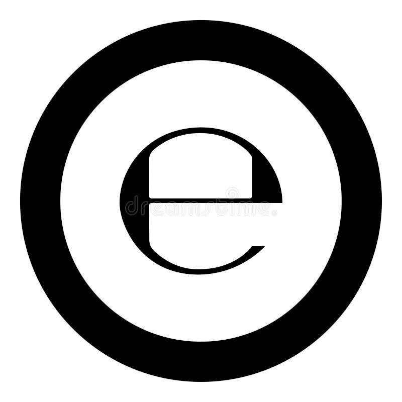 Estimated sign E mark symbol e icon black color in round circle. Vector illustration vector illustration