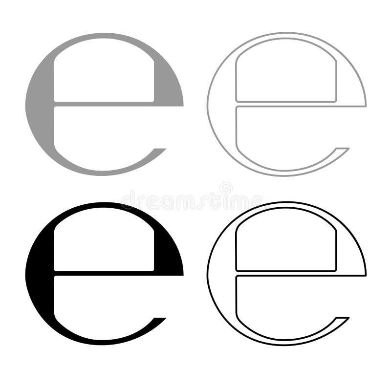 Estimated sign E mark symbol e icon outline set grey black color. Estimated sign E mark symbol e icon set grey black color illustration flat style simple image royalty free illustration