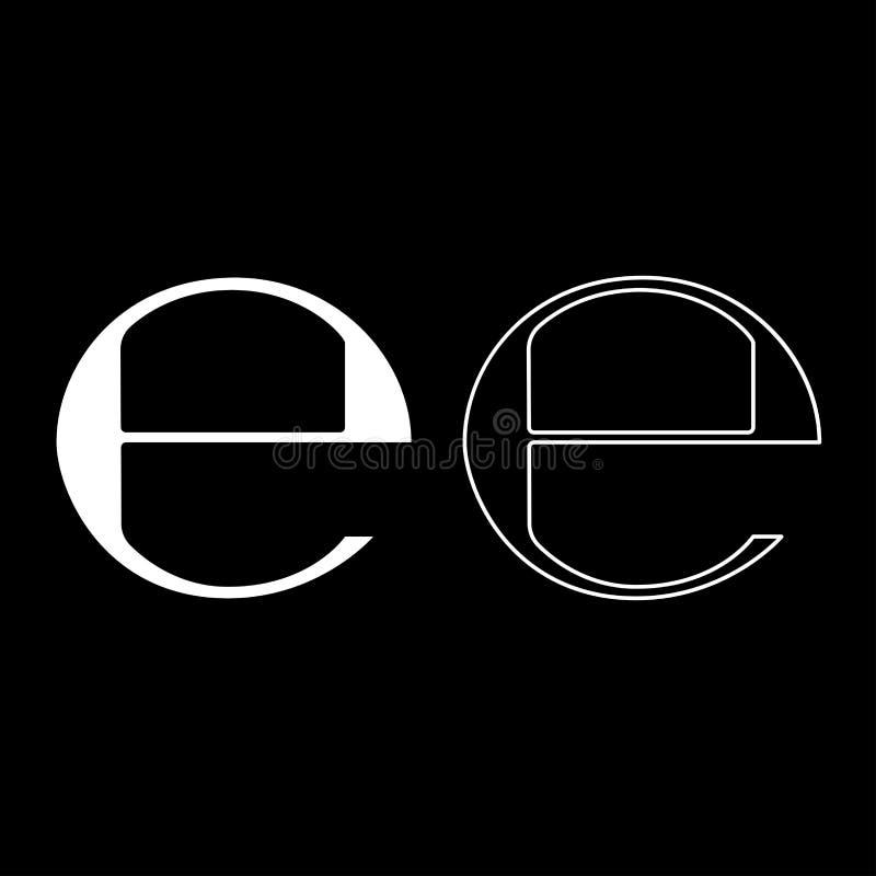 Estimated sign E mark symbol e icon set white color illustration flat style simple image. Estimated sign E mark symbol e icon set white color vector illustration royalty free illustration