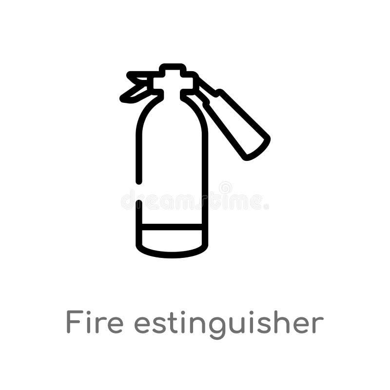 estinguisher vectorpictogram van de overzichtsbrand de geïsoleerde zwarte eenvoudige illustratie van het lijnelement van algemeen royalty-vrije illustratie