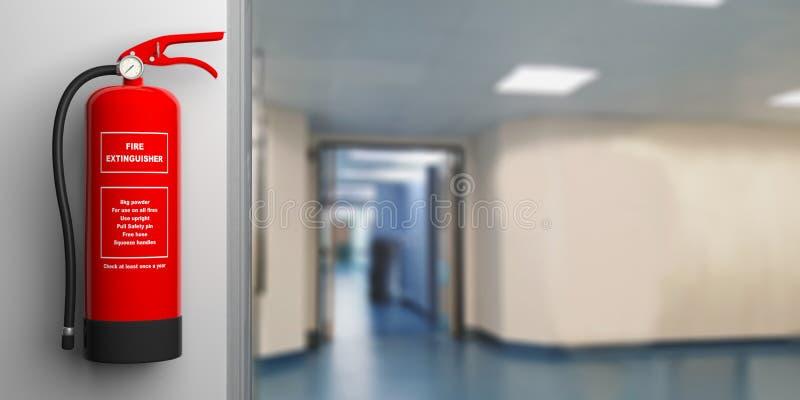 Estintore su una parete, fondo del corridoio dell'ospedale della sfuocatura illustrazione 3D illustrazione vettoriale