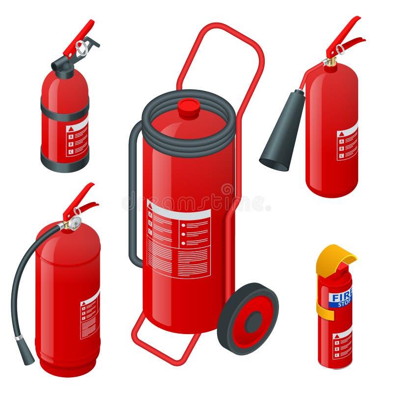 Estintori a schiuma isometrici, estintori isolati su fondo bianco Protezione antincendio e protezione illustrazione di stock