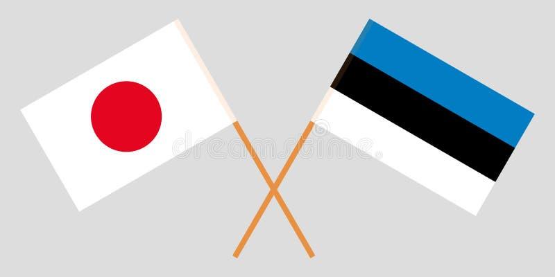 Estland en Japan De Estlandse en Japanse vlaggen Officieel aandeel Correcte kleuren Vector royalty-vrije illustratie