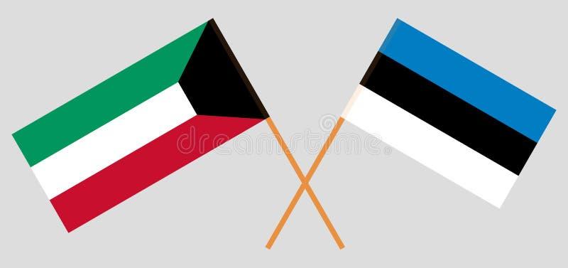 Estland en Koeweit De Estlandse en Koeweitse vlaggen Officieel aandeel Correcte kleuren Vector royalty-vrije illustratie