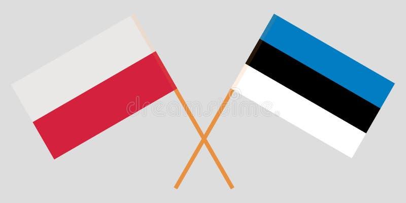 Estland en Polen De Estlandse en Poolse vlaggen Officieel aandeel Correcte kleuren Vector vector illustratie