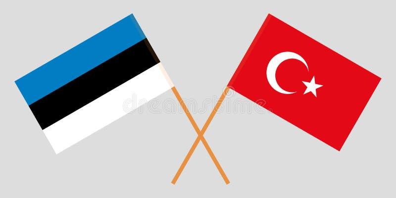 Estland en Turkije De Estlandse en Turkse vlaggen Officieel aandeel Correcte kleuren Vector vector illustratie