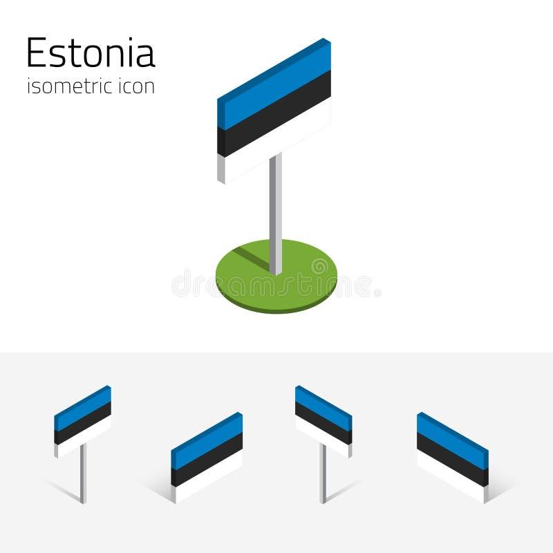 Estland-Flagge, Vektorsatz von isometrischen Ikonen 3D stock abbildung