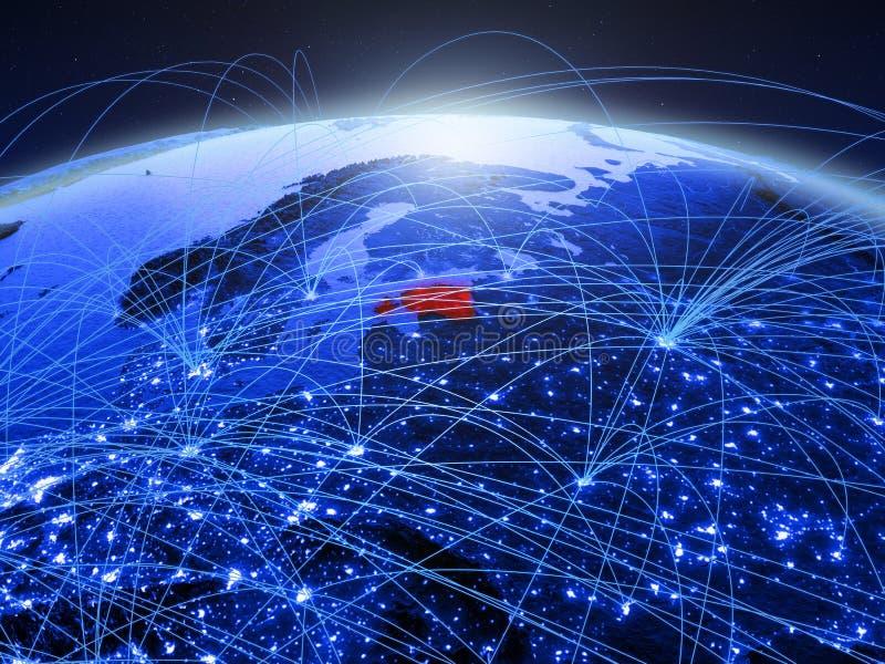 Estland op blauwe digitale aarde met internationaal netwerk die mededeling, reis en verbindingen vertegenwoordigen 3d royalty-vrije stock fotografie