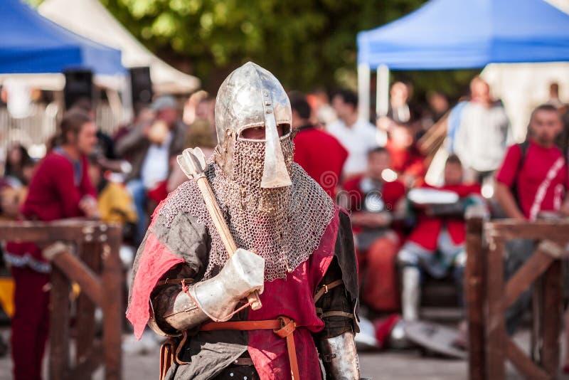ESTLAND, TALLINN - 4. JUNI 2016: Internationales historisches Schwertkämpfenturnier alten Tallinn-Cups stockfoto