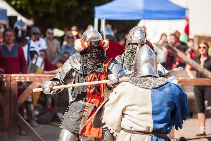 ESTLAND TALLINN - 04 JUNI, 2016: Turnering för stridighet för svärd för gammal Tallinn kopp internationell historisk arkivfoto