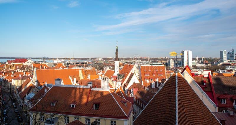 Estland Tallinn Toompea, de oude stadsbouw royalty-vrije stock afbeelding