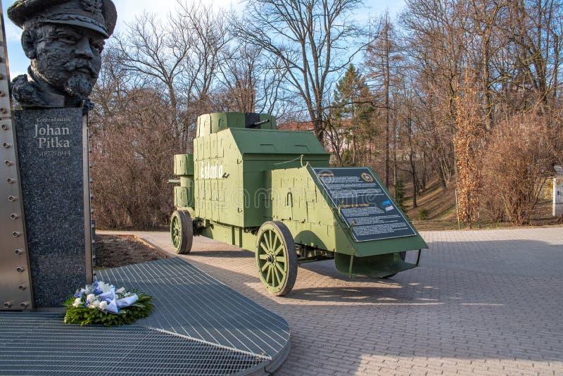 Estland Tallinn Toompea, första armerade bil arkivbilder