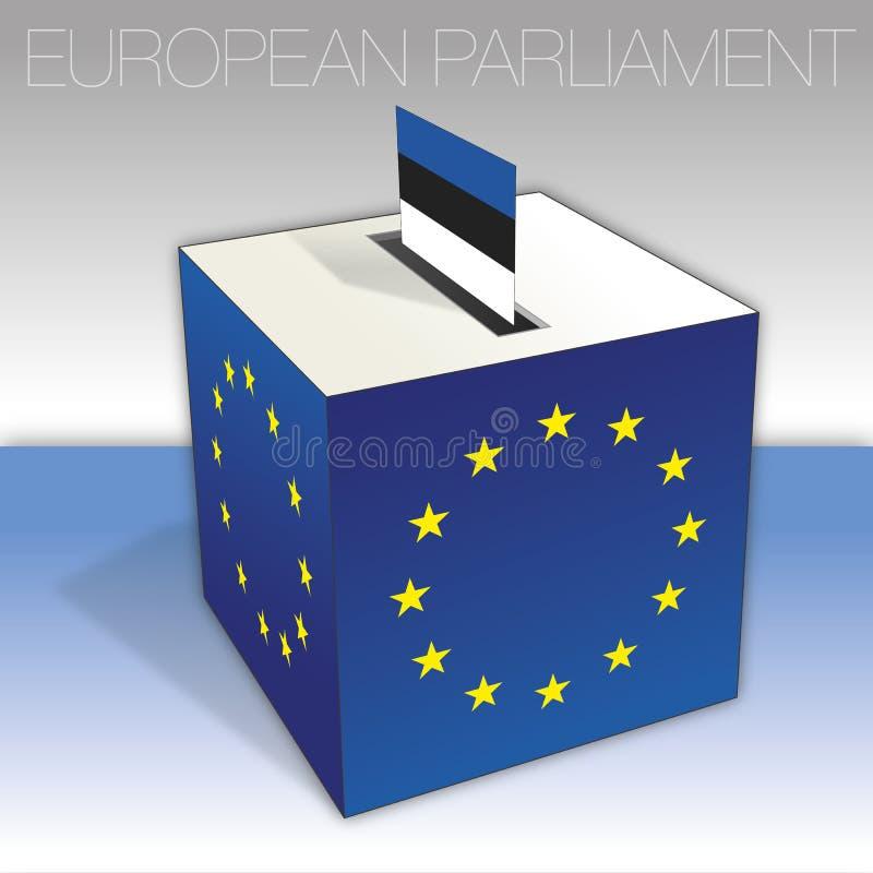 Estland, val för europeisk parlament, valurna och flagga stock illustrationer