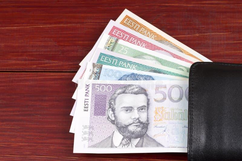 Estlands geld in de zwarte portefeuille royalty-vrije stock afbeelding